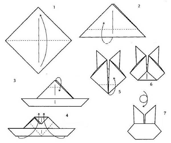 Схема оригами для изготовления зайчика