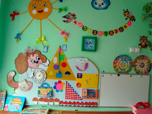 Стена с магнитной доской справа, солнышком с бантиками на лучах слева