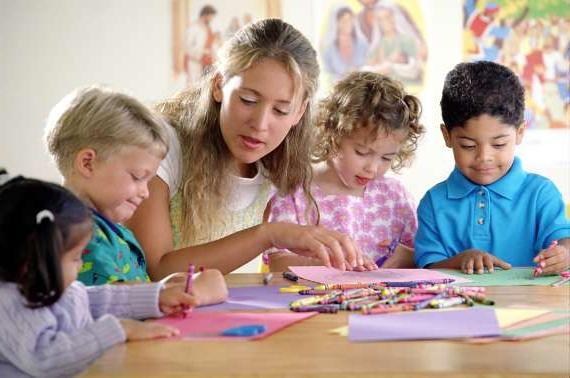 Воспитательница помогает детям рисовать восковыми карандашами