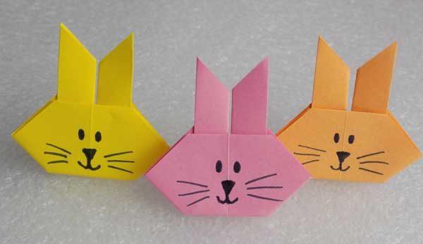 Мордочки зайцев, выполненные в технике оригами