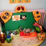 Центр психологической разгрузки:жёлтый стол полукругом с материалами на нём и оранжевыми вязаными шапочками с эмоциями на зелёной доске