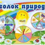 Календарь природы на фоне радуги, солнца и ромашек