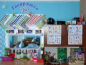 Логопедический уголок Говоряшка, синяя стена, слева стол, над ним зеркало, слева - шкаф и открытая полка с материалами
