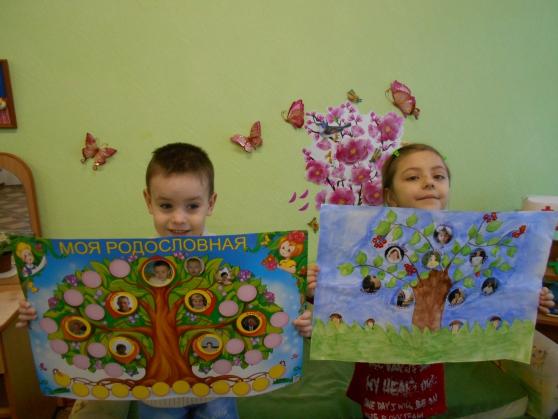 Мальчик и девочка держат по ватману с проектами своих генеалогических деревьев
