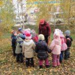 Дети и воспитатель рассматривают опавшие листья