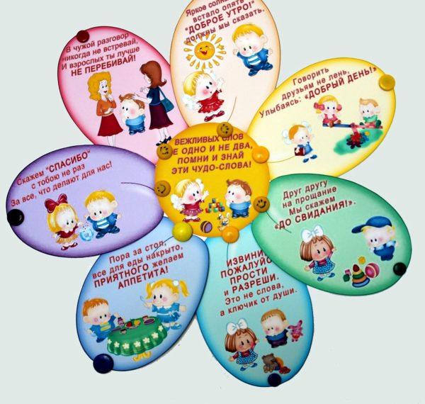 Плакат к занятию по нравственному воспитанию в виде ромашки