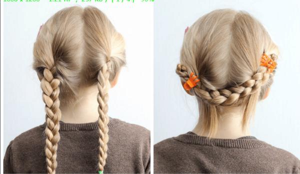 Причёска для девочек из двух косичек