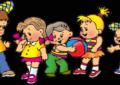 Пятеро анимационных человечков, мальчик и девочка держат мяч