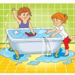 Рисуное, где дети перелили воду в ванной