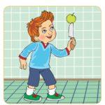 Рисунок с изображением ребёнка с ножом и яблоком в руке