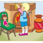 Картинка с девочкой, играющей около камина