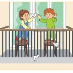 Рисунок, где дети играют в самолётики на балконе