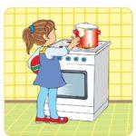 Картинка, изображающая как у девочки убежала еда из кастрюли