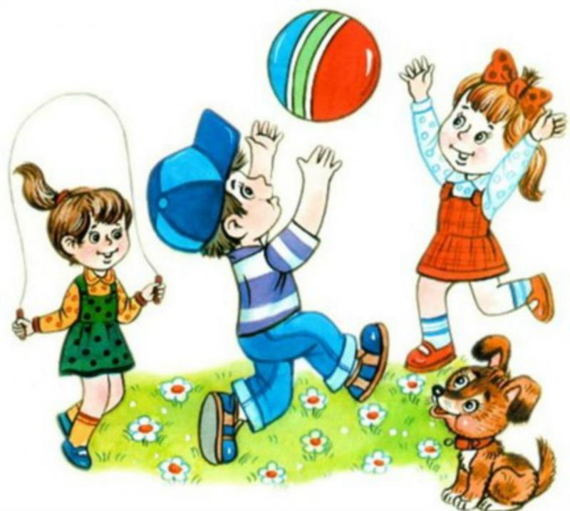 Анимационные дети и собачка играют в мяч