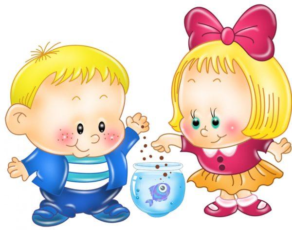 Анимационные мальчик и девочка кормят рыбок в аквариуме