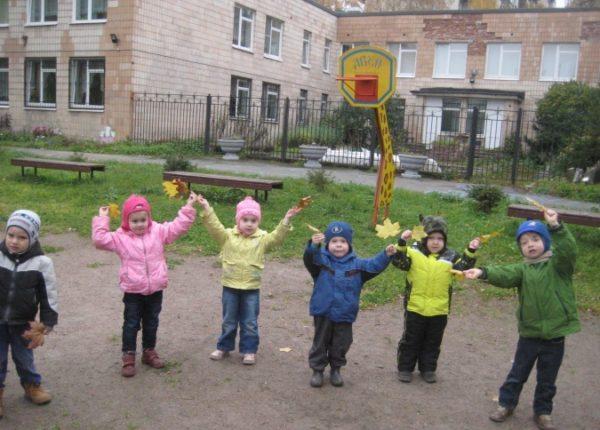Дети стоят полукругом, держат листья