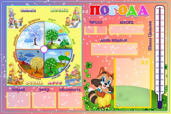 Календарь погоды в детском саду шаблоны