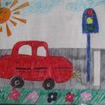 Красная рисованная машинка стоит на светофоре
