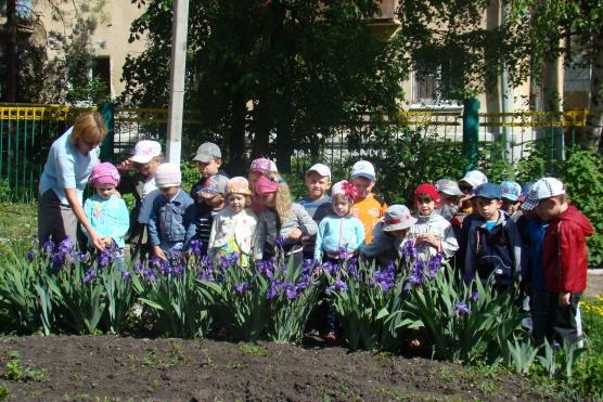 Малыши рассматривают клумбу на учатске детского сада