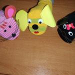 Мышка, собачка и кошка из лилового, жёлтого и чёрного носков