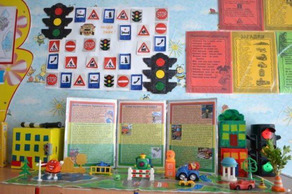 На стене изображены дорожные знаки
