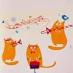 Наклейки на стену «Коты-музыканты»