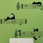 Наклейки на стену «Музыкальные коты»