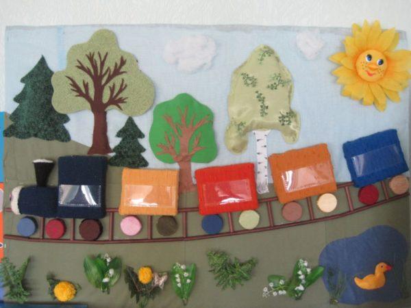 Панно из ткани с паровозом, деревьями, цветами и солнышком