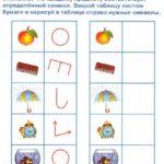 Таблица с изображениями предметов и их символами