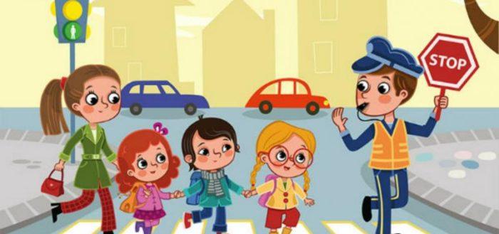 Анимационная картинка: постовой со знаком Стоп переводит детей и воспитательницу через дорогу