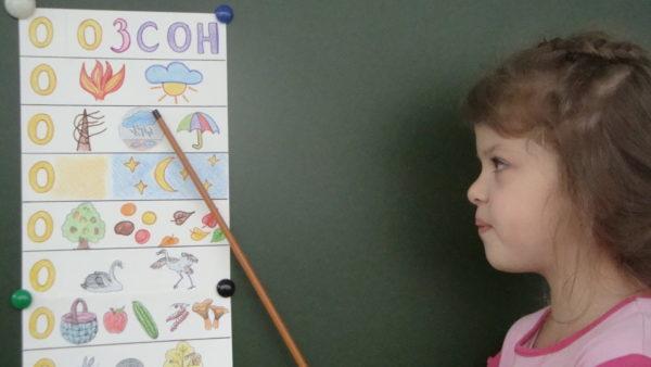 Девочка показывает указкой на картинку мнемосхемы