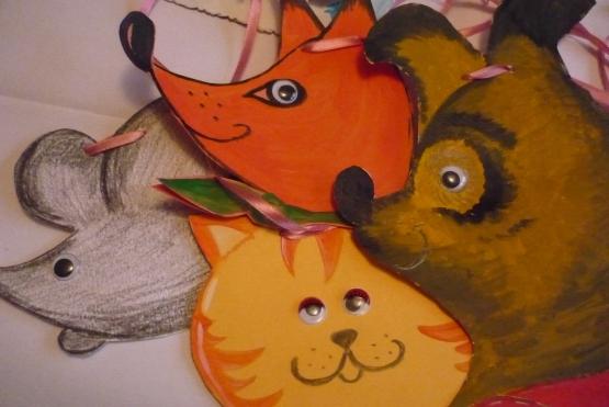 Мордочки мышки, лисы, медведя и кота из бумаги на ленточках