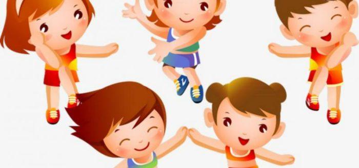 Пятеро прыгающих детей, анимационная картинка