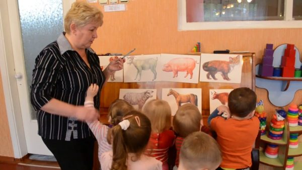 Воспитательница показывает детям картинки с изображениями животных на стенде