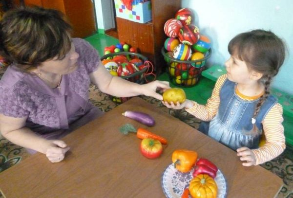 Воспитательница показывает на картофелину, которую держит девочка