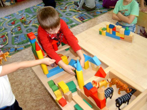 Дети строят зоопарк из деревянных фигурок