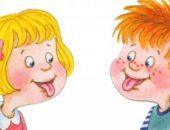 Анимационные девочка и мальчик показывают друг другу языки