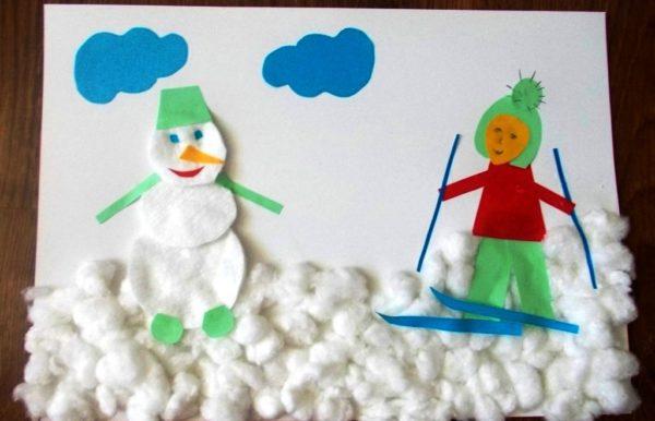 Аппликация Снеговик и Лыжник