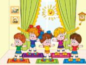 Дети-анимационные персонажи делают зарядку