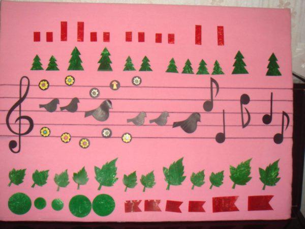 Фланелеграф с изображением нот, ёлочек, птичек, листочков и др