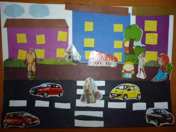 Готовая композиция проезжей части с автомобилями и пешеходами