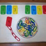 Разноцветные скрепки и таблички с цифрами
