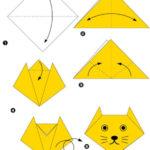 Схема оригами-котёнка для оформления огней светофора