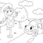 Картинка для раскрашивания со светофором и машинкой