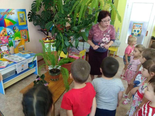 Воспитатель что-то объясняет детям в уголке природы