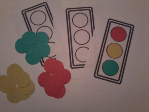 Шаблон светофора и цветные кружки