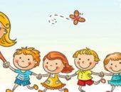 Анимационные персонажи: воспитатель ведёт за руку детей