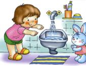Анимационный малыш и заяц возле рукомойника