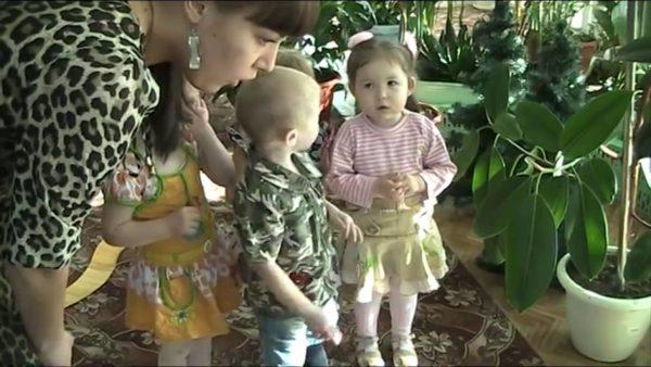 Дети с воспитательницей рассматривают комнатные растения