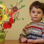 Мальчик и семейное дерево в цветочном горшке
